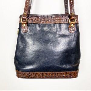Brahmin Leather Bag Black Bucket Brown Crock Trim
